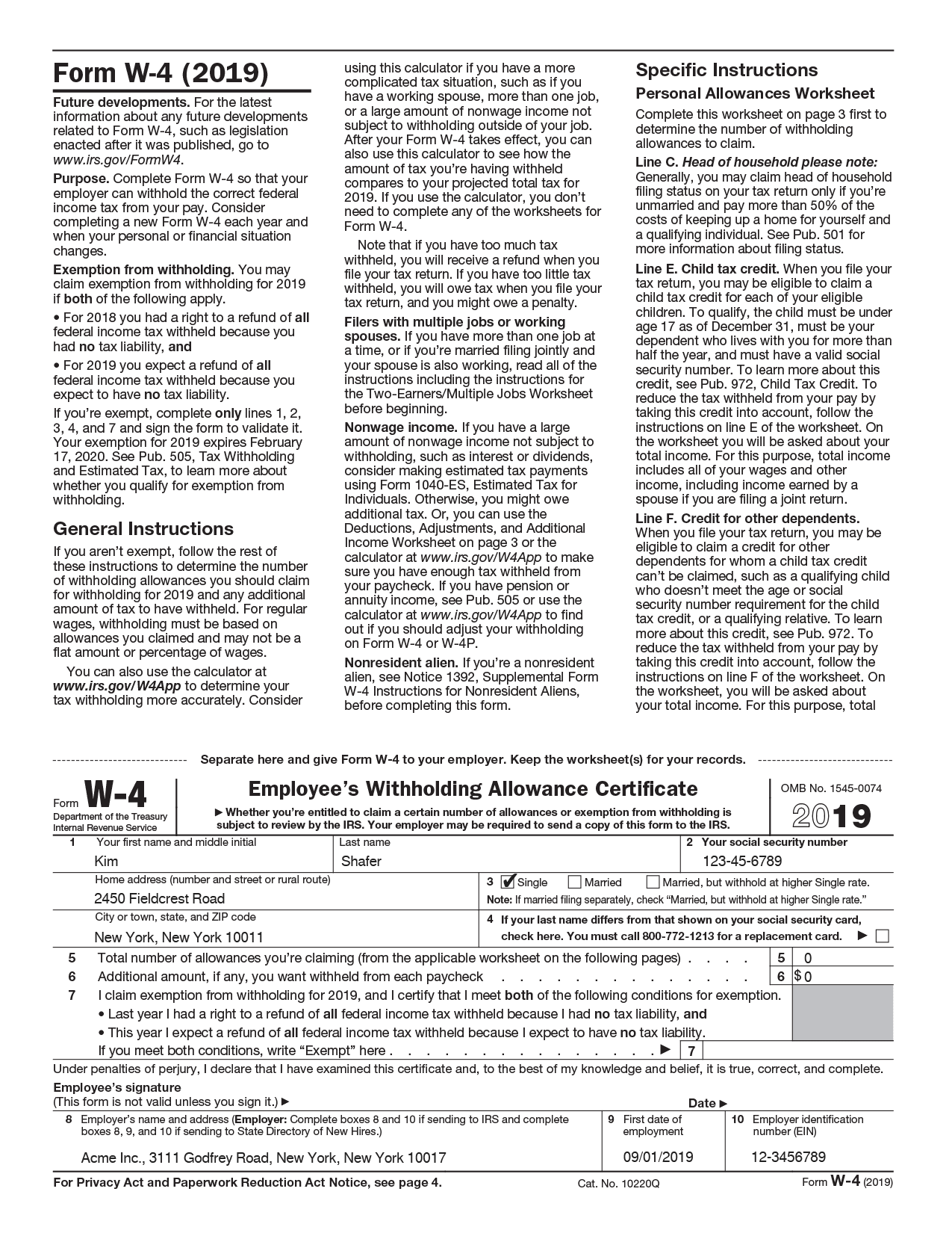 Form W-4 Preview
