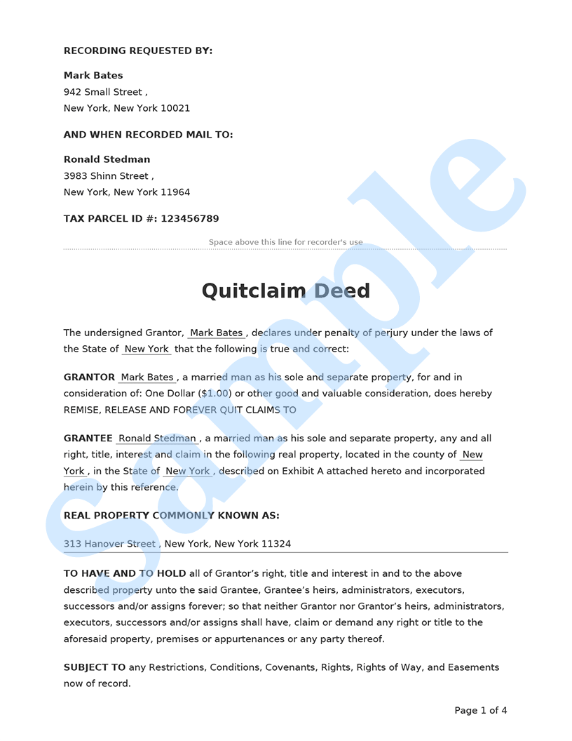 Quitclaim Deed Preview