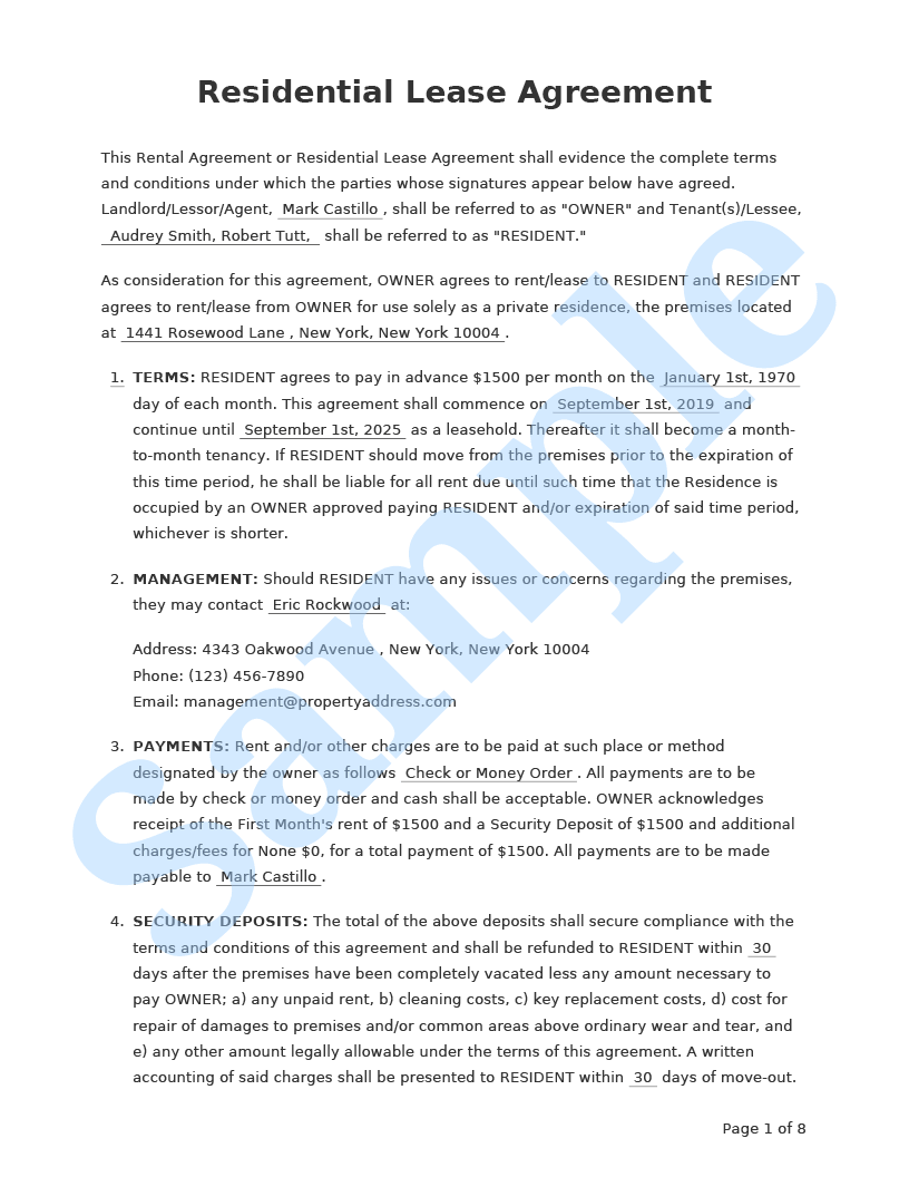 Residential Lease Agreement Form Pros