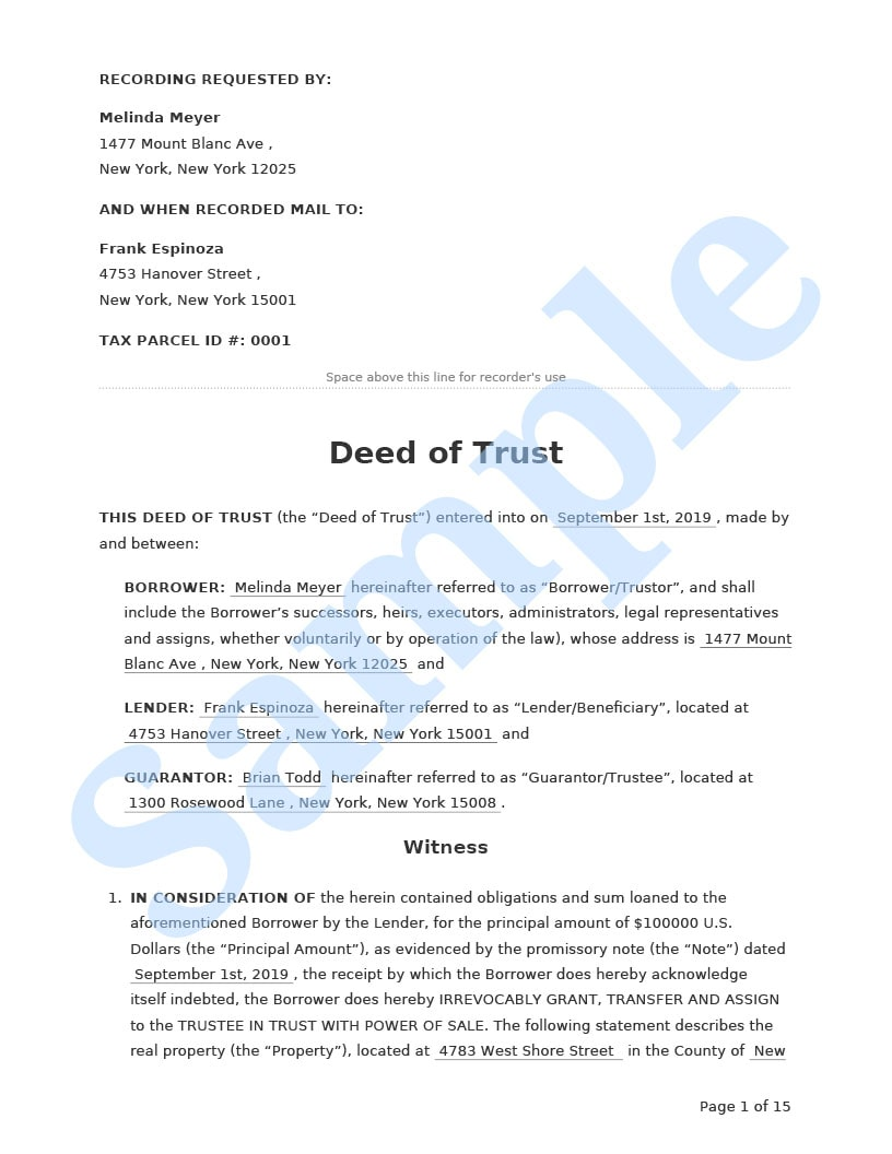 Deed of Trust Preview