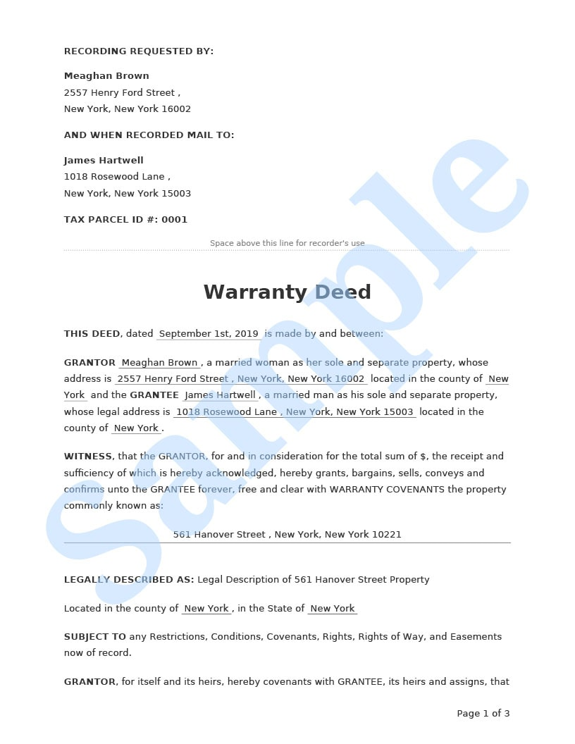 Warranty Deed Preview