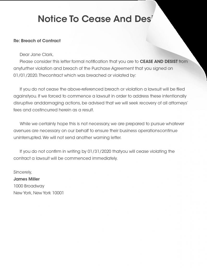 Cease And Desist Letter Form Pros