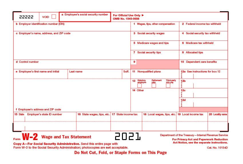 Form W-2 2021 Edition